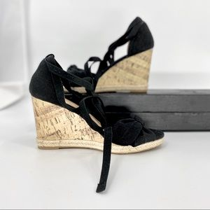 APT.9-Size 8.5- Black String Wedge Sandal